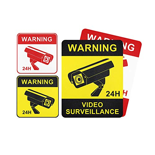JeaTone Hochwertige Achtung Videoüberwachung Aufkleber - 4 Stück - Videoüberwacht Schild selbstklebend (Kameraüberwachung - Überwachungskamera) - Warnschild Alarmanlage/Warnhinweis für außen
