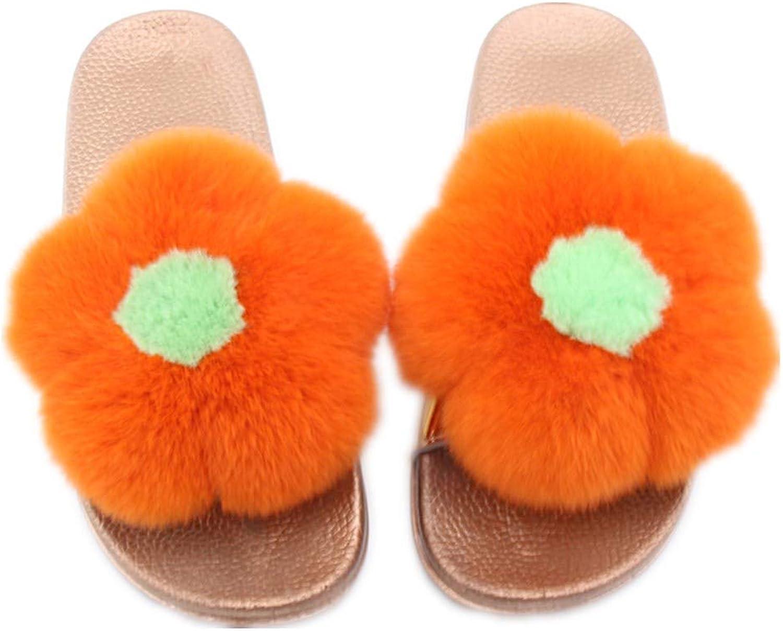 Qmfur Women Real Rex Rabbit Fur Flower Vegan Open Toe Slip On Sandals Outdoor