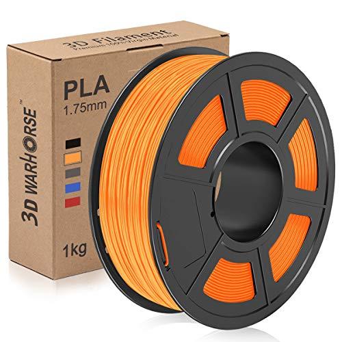 PLA Filament, 1.75mm 3D Printer Filament, Upgrade 2020 PLA 3D Printing 1KG Spool, Dimensional Accuracy +/- 0.02mm, Orange