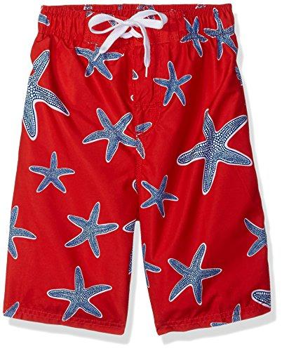 Kanu Surf Boys' Reflection Quick Dry UPF 50+ Beach Swim Trunk, Starfish Red, 10/12