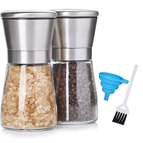 PiAEK Pfeffermühle und Gewürzmühle Salz Pfeffer Mühle 2er Set Mit Einstellbarem Keramik-Mahlwerk,Moderne Salzmühle und Pfeffermühle aus Edelstahl & Glas