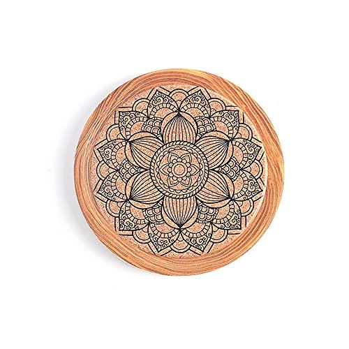 Manteles individuales,Platillo de pintura con tinta de flores, posavasos de cerámica, aislamiento térmico de madera de imitación, almohadilla de aislamiento de corcho, 4 piezas, decoración 2