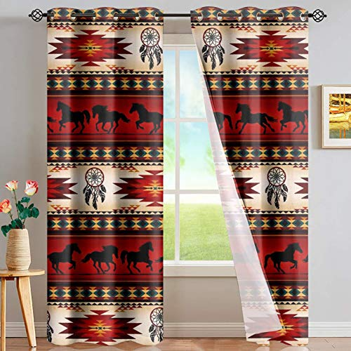 CLOHOMIN Southwestern Horse Window Curtain Blackout Aztec American Native Window Curtain Blue and White Tribal Dreamcatcher Horse Living Room Bedroom Window Drapes Treatment Fabric 2 Panels