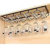 Soporte para Copas, Estante colgante para copas de vino de Metal con rieles 6, sostiene copas de vino y copas de cristal, 60 x 22.5 x 5.5cm (rieles 6)