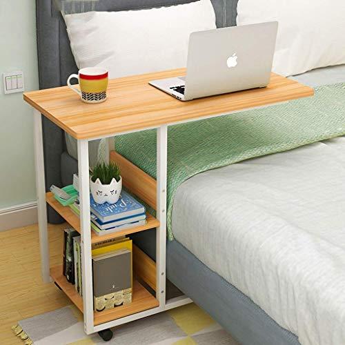 QTQZDD Mobile Stand Up Laptop Bureau Computertafel, bed bureau met magazijnrek wielen, massief hout woonkamer leestafel (kleur: C, grootte: 604075cm) 4 4