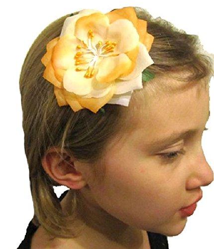 Mondial-fete - Fleur Broche Tropicale Orange 8 cm
