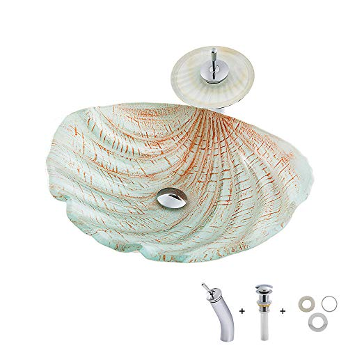 HomeLava Modern Glas Waschbecken Set Muschel Design Aufsatz Glaswaschbecken Aufsatzwaschbecken mit Wasserfall Wasserhahn und Ablaufgarnitur