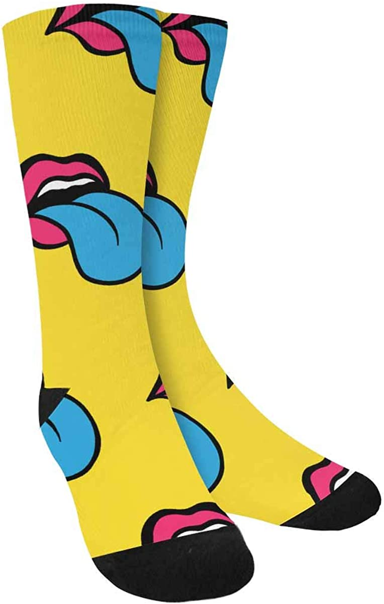 INTERESTPRINT Comic Blue Tongue and Lips Sublimated Polyester Casual Crew Socks