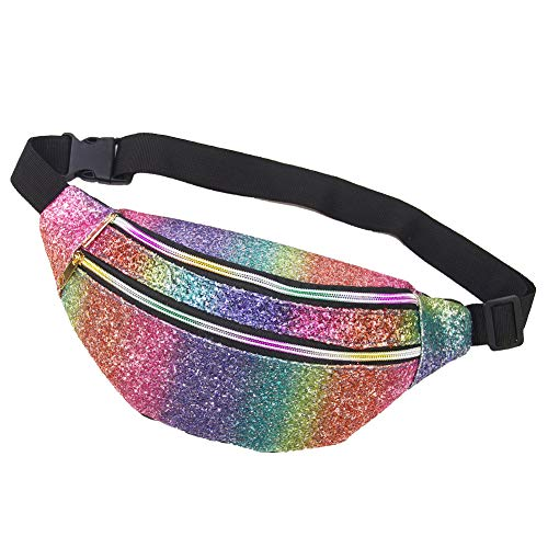 Basumee 15cmx34cm Adult Glitter Bum Bag for Women Sequin Sports Bag Fanny Pack Shiny Bumbag Sparkle Waist Bag Rainbow for Running Ridding