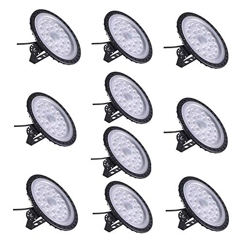100W UFO LED High Bay Light lamp Factory Warehouse Industrial Lighting 10000 Lumen 6000K IP54 Warehouse LED Lights- High Bay LED Lights- Commercial Bay Lighting for Garage Factory Workshop (10pcs)