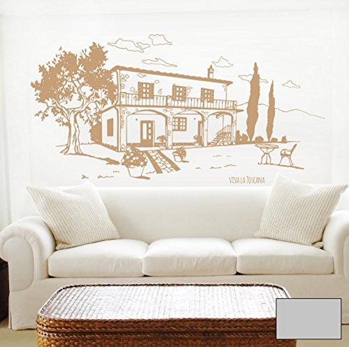 Wandtattoo Wandaufkleber Toscana Toskana Landhaus Italien M1605 - ausgewählte Farbe: *Mittelgrau* - ausgewählte Größe: *M - 100cm breit x 50cm hoch*