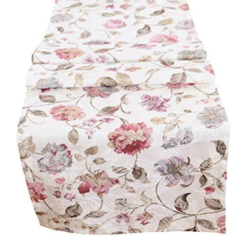 heimtexland Moderne Landhaus Tischdecke Tischläufer 40x150 cm aus hochwertigem Jacquard in hell Natur mit schönem Blumen Druck - Tischwäsche Country Chic Typ312