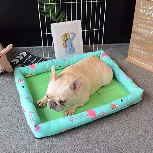 LCSD Cama para perro de doble cara nido de verano para perros pequeños y medianos universales resistentes a las mordeduras de tela Oxford verde 51 x 36 x 8 cm
