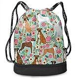 PmseK Sac à Dos imprimé avec Cordon de Serrage, Boxer Dog Flowers Florals Mint Cute Flowers Multifunctional Bundle Backpack...