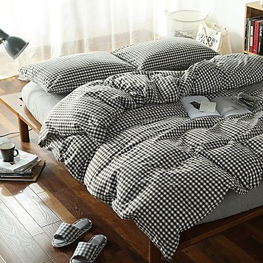 ZYT Plaid noir et blanc lavé coton literie ensembles 2places taille linge 4pcs couette couverture ensemble . queen
