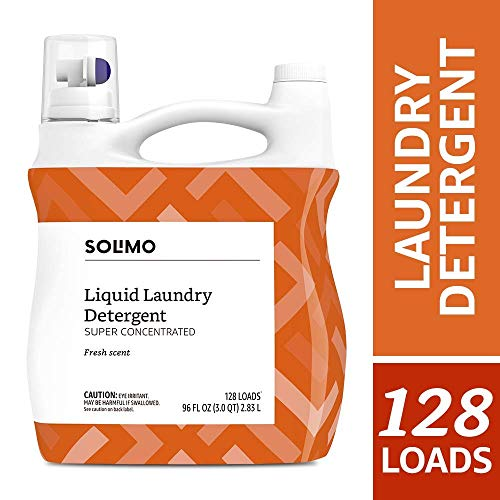 Amazon Brand - Solimo Concentrated Liquid Laundry Detergent, Fresh Scent, 128 loads, 96 Fl Oz