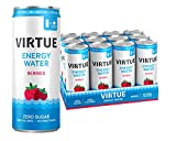 VIRTUE Energy Water - Healthy Energy Drink - Zero Sugar, Zero Calories (Berries, 12 pack)