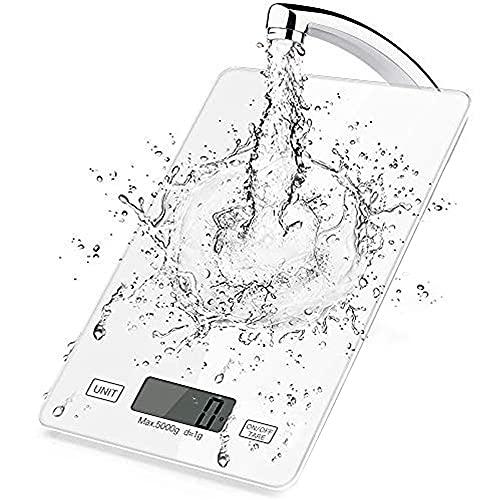 Inroserm Digitale Küchenwaage, 5 kg elektronische Waage zum Backen von Speisen, Smart Touch Control, klares LCD, gehärtete Glasscheibe, mehrere Einheiten, Tara-Funktion (Weiß)