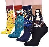 (コナミヤ) Konamiya レディース世界の名画模様靴下アートな靴下有名な絵画柄アートソックス 4足セット名画B-男女兼用