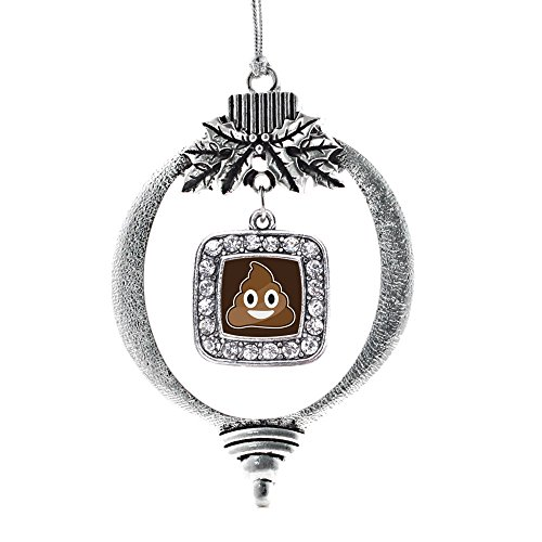 Inspired Silver - Poop Emoji Charm Ornament - Silver Square Charm Holiday Ornaments with Cubic Zirconia Jewelry