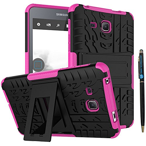 Tab A 7.0 Inch 2016 Release Back Case DWaybox 2in1 Combo Hybrid Rugged Heavy Duty Armor Hard Cover Case with kickstand for Samsung Galaxy Tab A 7.0 2016 T280 T285 (Hot Pink)