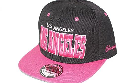 Hip Hop Casquette chapeau CITY SNAPBACK équipe ville américaine FS-413 (LOS ANGELES-SCHWARZ-PINK-)