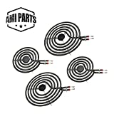 AMI PARTS MP22YA Electric Range Surface Burner Coil Unit Set 2pcs MP15YA 6' and 2pcs MP21YA 8'...