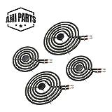 AMI PARTS Electric Stove Burners MP22YA Electric Range Surface Burner Coil Unit Set 2pcs MP15YA 6' and 2pcs MP21YA 8' Element Replacement Part