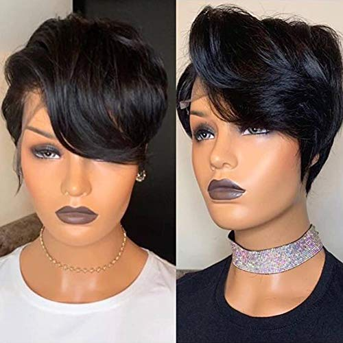 13x6 Short Cut Lace Front Wigs Loose Wave Pixie Cut T Lace Wigs Pre Plucked with Baby Hair MSGEM Glueless Virgin Human Hair HD Lace Front Wigs 150% Density for Black Women 6 Inch Natuiral Color