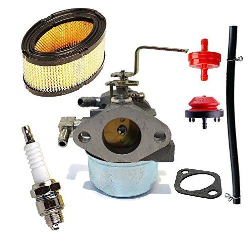OxoxO Carburateur Fit voor Tecumseh HM80 HM100 voor 640152A 640023 640051 640140 640152 Kom met Brandstoffilter Spark Plug & Primer Lamp & Brandstoflijn, Luchtfilter voor 33268 33263 M49746 30-100 Motoren