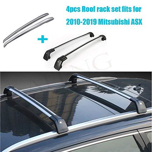 LAFENG Juego de barras de techo para Mitsubishi ASX 2010-2019, 4 piezas de portaequipajes y juegos de barras transversales.