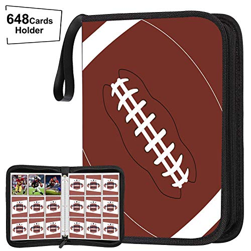 POKONBOY 648 Pockets Football Card Binder for Football Trading Cards, Display Case with Football Card Sleeves Card Holder Protectors Set for Football Card and Sports Card