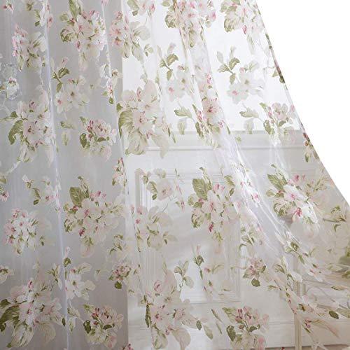 "No. 918 Kiki Floral Print Crushed Sheer Voile Rod Pocket Curtain Panel, 51"" x 84"", Aegean Blue"