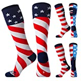 JUSDO Kids Soccer Socks, American Flag Athletic Socks with Cushion Team Sport Knee High Socks for Youth Kids (3 Pairs/S)