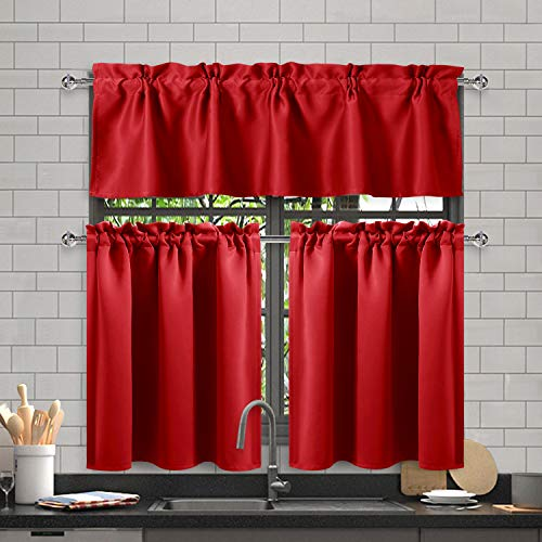 DWCN 3 Piece Blackout Kitchen Curtain Set Rod Pocket Top Kitchen Window Curtain - Thermal Insulated Energy Saving, W60 x L18 Valance, 2 Panels of W32 x L36 inch Tiers, Red