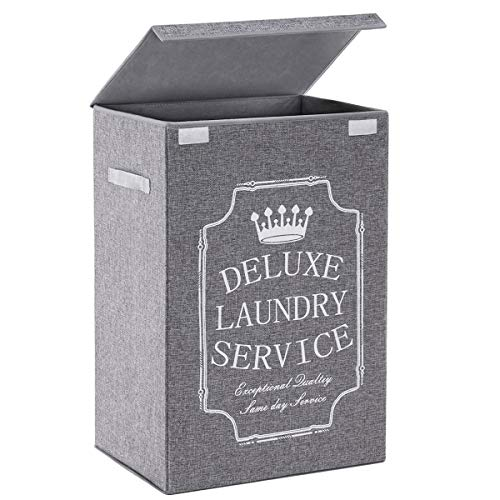 TECHMILLY Laundry Hamper with Lid Grey 72L Large Laundry Basket with Handles for Clothes Toys Throws Pillows in Living Room College Dorm Bedroom and Bathroom