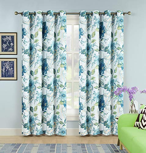 "2PC Room Darkening Window Curtain Set Flower Paisley Pattern Yellow Blue Green Floral Colors Energy Saver with Bronze Grommets 104"" Wide x 84"" Long"