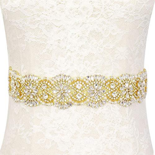 Pardecor Rhinestone Belt Womens Belt Wedding Dress Gold Sash Crystal Applique Bridal Belt Bridal Gowns Sash Beaded Trim Bridesmaid Sash Perfect for Wedding