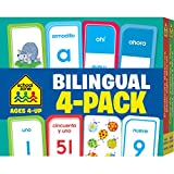 School Zone - Bilingual Spanish/English Flash Cards 4 Pack - Ages 4+, Preschool to Kindergarten, ESL, Language Immersion, ABCs, Sight Words, and More ... Edition) (English and Spanish Edition)