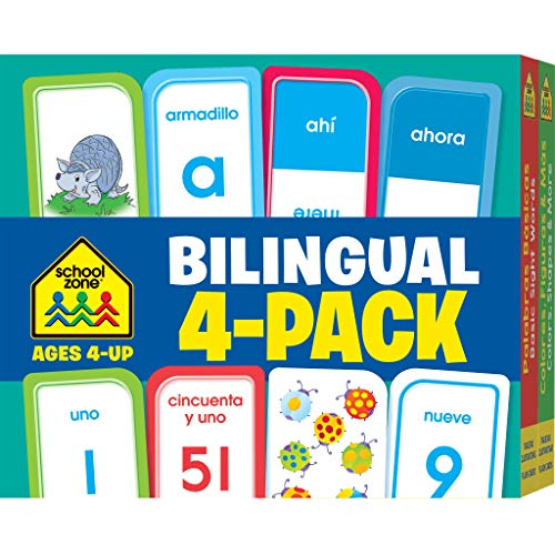 School Zone - Bilingual Spanish/English Flash Cards 4 Pack - Ages 4+, Preschool to Kindergarten, ESL, Language Immersion, ABCs, Sight Words, and More (Flash Card 4-pk) (English and )