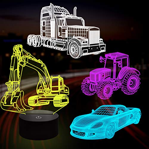 Lampeez 3D Car Lamp Night Light 3D Illusion lamp for Kids,Car,Truck,Tractor,Excavator,16 Colors Changing with Remote,Dimmable(4 Patterns) Kids Bedroom Decor Car Gifts for Boys Girls
