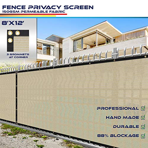 Windscreen4less Heavy Duty Privacy Screen Fence in Color Tan with White Stripes 8' x 12' Brass Grommets w/3-Year Warranty 150 GSM (Customized