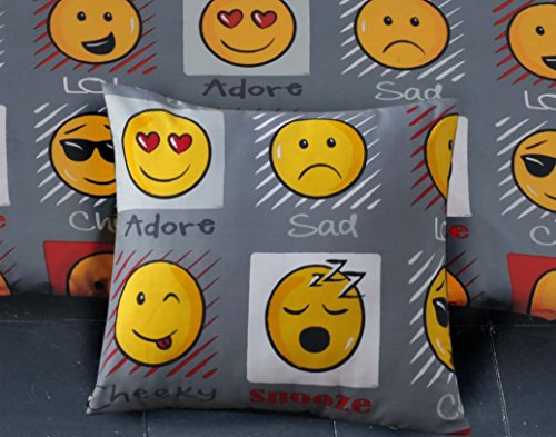 Emoji Expressions Smiley Face Cushion Cover Grey