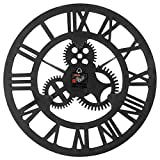 ヴィンテージウォールクロック ヨーロピアンスタイル クリエイティブ バー デコレーション 丸め ローマ 番号 歯車掛け時計、 直径 58cm