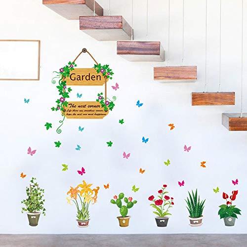 Afneembare stickers voor aan de muur, doe-het-zelf, kleur tuin, bloempot, vlinder, muursticker, decoratie voor huis, ramen, slaapkamer, woonkamer, huis, afneembare achtergrond