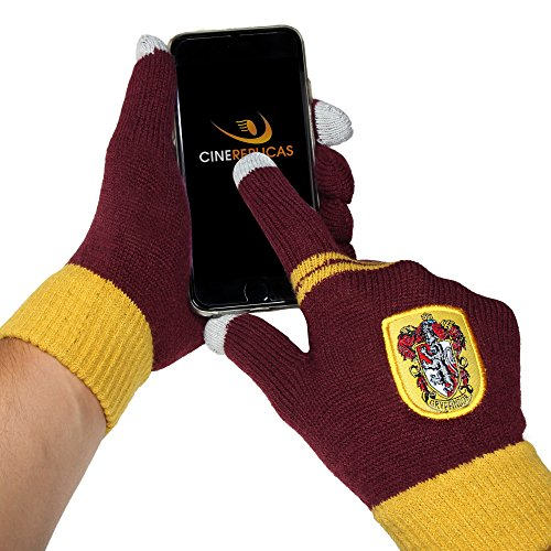 Cinereplicas - Harry Potter - Gants Ecran Tactiles - Licence Officielle - Maison Gryffondor - Taille Unique - Rouge et Jaune