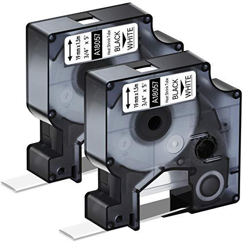 KCMYTONER 2PK Printable Heat Shrink Tubing Label Tape 18057 Black on White 3/4