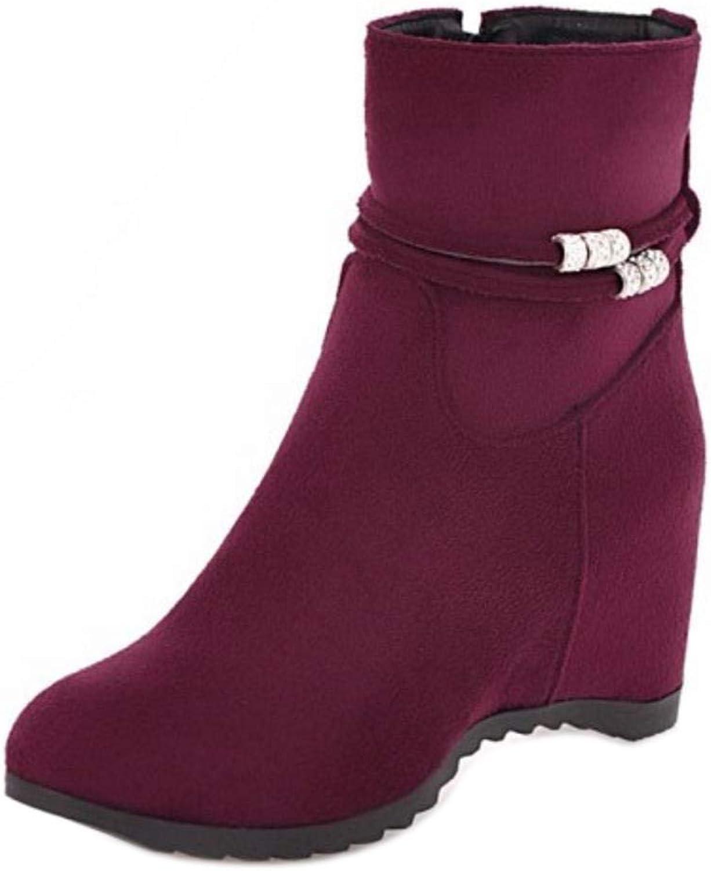 Unm Women Hidden Wedge Heel Ankle Boots Zipper