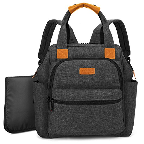 BRINCH Multi-Function Lightweight Baby Nappy Bag Diaper Changing Backpack Handbag Organizer with Changing Pad,Stroller Straps & Insulated Pocket for Mom and Dad,Black