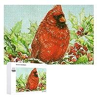 1000ピース ジグソーパズル Winter Holly Cardinal おもちゃのギフト 減圧 大人 超ミニピース 高難度 50 x 75 cm